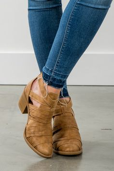 RubyClaire Boutique - The Jeanie Booties | Camel, $46.00 (https://www.rubyclaireboutique.com/the-jeanie-booties-camel/)