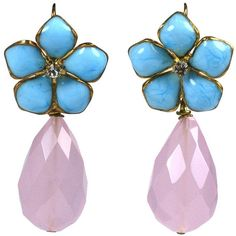 """Pre-owned Turquoise Pate de Verre and Rose Quartz """"Palm Beach""""... ($350) ❤ liked on Polyvore featuring jewelry, earrings, dangle earrings, vintage earrings, vintage turquoise earrings, flower jewelry and palm beach jewelry"""