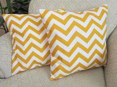 Chevron Decorative Throw Pillow Cover Yellow by asmushomeinteriors, $31.95