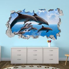 Honesty Custom Mural 3d Photo Wallpaper Broken Wall Deep Sea Animal Dolphin Home Decor Room 3d Wall Murals Wallpaper For Walls 3 D Painting Supplies & Wall Treatments