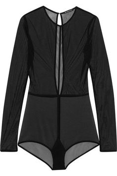 Ann Demeulemeester - Open-back Stretch-tulle Bodysuit - Black
