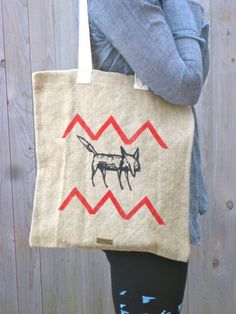 crazy mister Fox Tote Linen Tote Fox Bag Eco by nicandthenewfie, $15.00