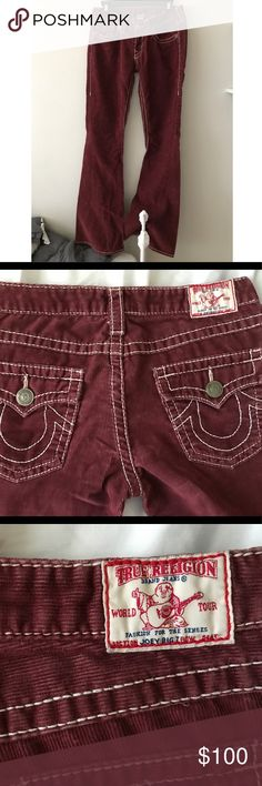 Authentic True Religion Joey Big T Corduroy Jeans 100% Authentic True Religion Jeans. Joey Big T style. Burgandy corduroy boot cut style. New. no tags. True Religion Jeans Boot Cut