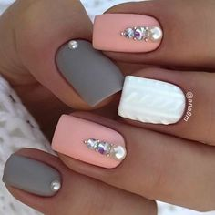 Accurate nails Festive nails Grey and pink nails Ideas of gentle nails Manicure 2018 Matte nails Nails trends 2018 Nails with rhinestones The post Accurate nails Festive nails Grey and pink nails Ideas of gentle nails Manic appeared first on Nageldesign. Square Acrylic Nails, Cute Acrylic Nails, Square Nails, Matte Pink Nails, Lilac Nails, Burgundy Nails, Best Nail Art Designs, Gel Nail Designs, Nail Art Design Gallery