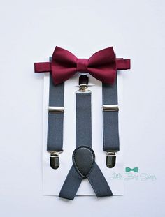 Boys burgundy wine bow tie charcoal suspenders by LittleBoySwag