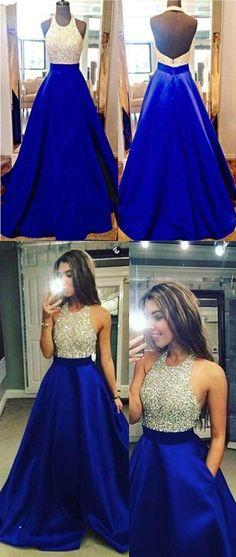 royal blue prom dresses,open back prom dresses,beaded prom dresses,long prom dresses G175