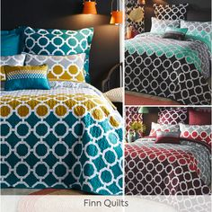 The richly-detailed, geo-printed Finn quilt sets (including pillowcases) are the ultimate cosy touch to any bedroom and will match your Finn bedding set perfectly! Quilt Sets, Pillowcases, Geo, Cosy, Comforters, Bedding, Touch, Quilts, Blanket