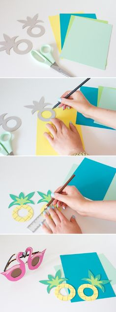 DIY Pineapple and Flamingo Sunglasses - 10 Cheerful Party DIYs to Make a Splash This Summer (Diy Summer) Flamingo Party, Flamingo Birthday, Flamingo Craft, Aloha Party, Luau Party, Diy And Crafts, Crafts For Kids, Paper Crafts, Diy Paper
