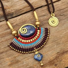 Tribal designs necklace with woven cotton and by cafeandshiraz