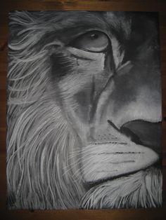 Lion of Judah  (white chalk on black paper)