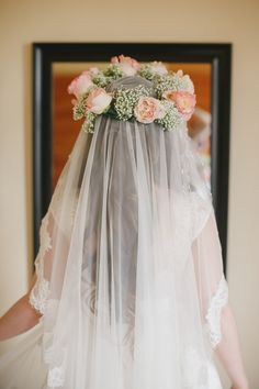 This flower crown is so romantic!! Love this. View the full wedding here: http://thedailywedding.com/2015/11/22/dreamy-forest-wedding-emily-michael/