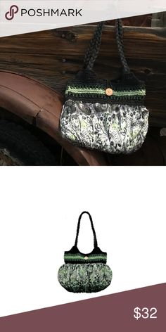 13dd1d674596 Green Woven Straw Scarf Tote Bag This bag has woven straw straps and a band  across