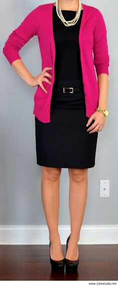 Pink cardigan, black pencil skirt and tee.