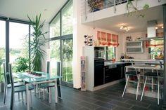 Fertighaus Wohnidee Küche und Esszimmer Pultdachhaus für zwei