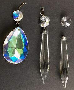 Lot of Vintage 1 Aurora Borealis Chandelier Prism Crystal and 2 Drop Crystals