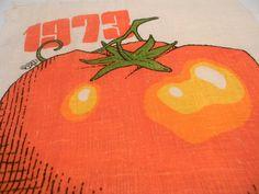 Calendar Tea Towel 1973 Huge Graphic Tomato Linen by dianadivine, $12.00