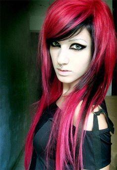 Red and black hairstyles - the latest color trend in which .- Rote und schwarze Frisuren – der neueste Farbtrend, in den wir verliebt sind! – Frisuren 2019 Red and black hairstyles – the latest color trend we're in love with! Hair Color Pink, Hair Color For Black Hair, Pink Hair, Red Color, Hair Colors, Gothic Hairstyles, Pretty Hairstyles, Black Hairstyles, Updo Hairstyle