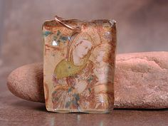 Rustic Handmade Mixed Media Resin Pendant by DivineSparkDesigns
