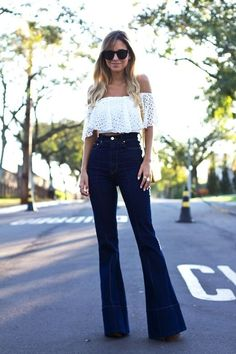 lace off-the-shoulder crop top & high-waisted flared jeans #style #fashion #summer #denim