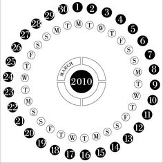 Circular Calendar with days of the week