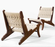 Pierre Jeanneret; Teak and Rope Chairs for a Private Residence in Chandigarh, 1950s.