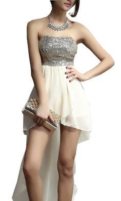 Beige Strapless Sequined Asymmetrical Dress EUR€27.31