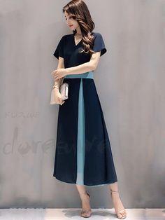 ffae166b34746 ロング丈 - Doresuwe.Com. 半袖ドレスお手頃ファッションニットカーディガン女性のファッションのドレスVネックガウン