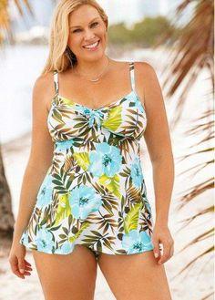 76033bc09eb41 Plus Size Flower Print Padded Swimdress and Panty | modlily.com - USD  $30.03 #