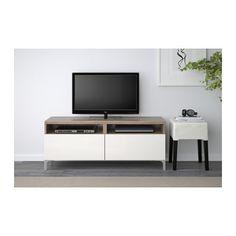 BESTÅ Móvel de TV c/gavetas - efeito nogueira velat cinz/Selsviken branco/brilh, calha p/gaveta, fecho suave - IKEA
