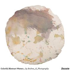 Colorful Abstract Watercolor Painting Round Pillow