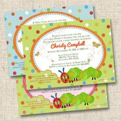 A Little Caterpillar Custom Baby Shower Invitation - for a boy or girl. $15.00, via Etsy.