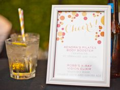 PALM SPRINGS WEDDING: COLORFUL WHIMSY AT THE VICEROY | wedding drink menu on bar  |  www.palmspringsstyle.com  Images @ Annie McElwain  Event Design: Green Ribbon Party Planning Co.