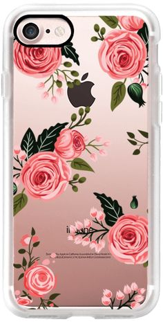 Casetify iPhone 7 Classic Grip Case - Pink Floral Flowers and Roses Chic Feminine Transparent Case 008 by Harvest Paper Co. #Casetify