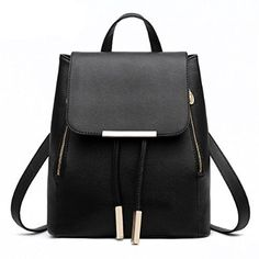 Women Candy Color Pu Soft Leather Lovely Backpack Cute Schoolbag Shoulder Bag (Black): Handbags: Amazon.com