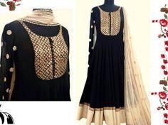 Gorgette kamiz with katan body, silk lace, salwar & tissue dupatta with bids & sequence. Perfect elegance. Get this on www.faaya.in