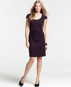 Petite Jersey Side Ruched Cap Sleeve Dress - Lyst