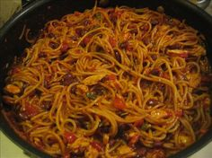 Mexican Comfort Food Fideo. You can also add a can of ranch style beans and/or a pound of ground beef.  I add both and have enough left over to feed the family lunch and another dinner.  It's a simple recipe and changes based on the region or city.  Some people add in black olives or jalapenos.  A box of vermaceli is about 0.13 - 0.38 cents so it can be a really cheap meal.