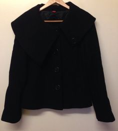 MONSOON BLACK WOOL LARGE COLLARED WINTER COAT SIZE 14 - VGC! #Monsoon #OtherJackets #Casual