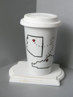 Long distance relationship friendship miss you mug state to state moving thinking of you One mug Two states never apart TRAVEL mug
