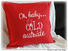 oh baby it's cold outside hand-painted pillow case, by BecauseIThinkICanDesigns, on etsy