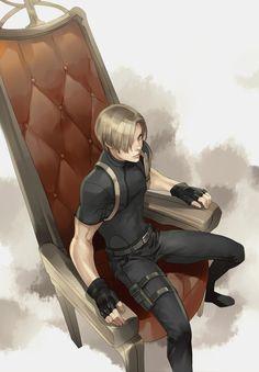 Leon and the fancy chair. Leon Resident Evil, Resident Evil Anime, Leon S Kennedy, Horror Video Games, Evil Art, The Evil Within, Kawaii, Anime Manga, Anime Boys