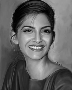 Potrait Drawing Beautiful painting of Sonam Kapoor by Vipul Pandit ❤❤❤ - Beautiful Pencil Drawings, Realistic Pencil Drawings, Pencil Art Drawings, Art Drawings Sketches, Drawing Art, Drawing Ideas, Girl Drawings, Portrait Sketches, Pencil Portrait