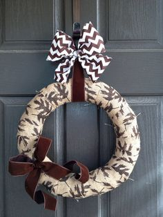 Brown Leaf Burlap Wreath ready to ship by PolkadotsOriginals