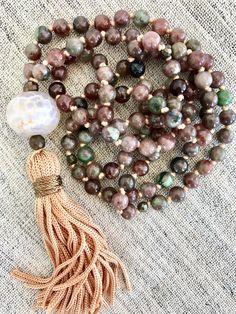 Mala necklace garnet kashgar mala necklace yoga mala tassel necklace agate mala necklace meditation necklace gemstones mala 108 beads by Katiaicrafts on Etsy