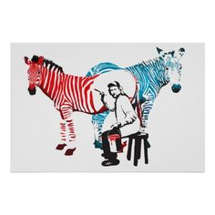 カラフルなシマウマのポスター。シンプルでお洒落な一枚。#zazzle #ポスター