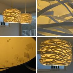 This design comes from Vendela, from Linz, Austria who purchased three small IKEA Löbbo lampshades with 2 larger ones and Hemma cords and light sockets.    Cut the smaller Löbbo shades into thin strips and cut small holes into the larger lampshade and weave them in an irregular pattern. you dont need glue or tape as long as the holes aren't too large. It is a pretty intense process but the results are worth it, with a little money and lot of time, you can create these lampshades that look…