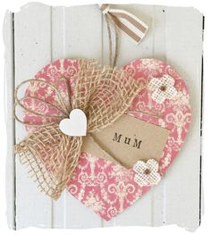 Wooden Heart Mothers Day Mum Gift by bynicki on Etsy
