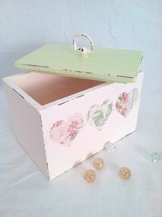 Vintage Cottage/Shabby Style Hand-Painted Wood Box. $15.00, via Etsy.