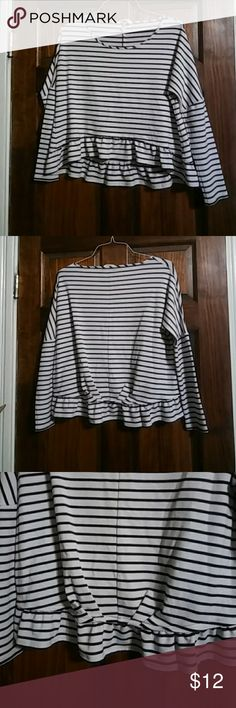 Black & White stripe top Excellent condition hi lo top.  Made of 62% polyester 34% rayon 4% spandex BCBGeneration Tops