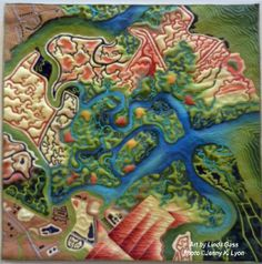 Wetlands Take Over map art quilt by Linda Gass,